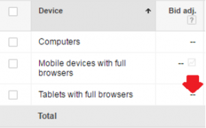 AdWords Tablet Bidding Screenshot